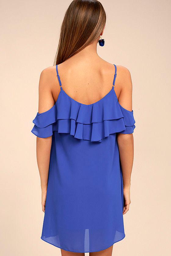 Impress the Best Royal Blue Off-the-Shoulder Dress 4