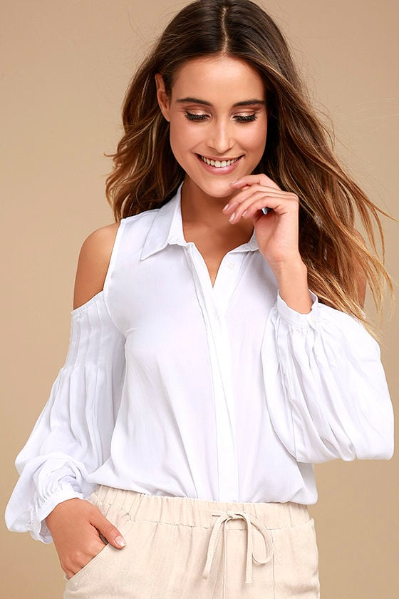 556d556a0d8 Chic White Top - Cold Shoulder Top - Button-Up Top - Long Sleeve Top -   46.00