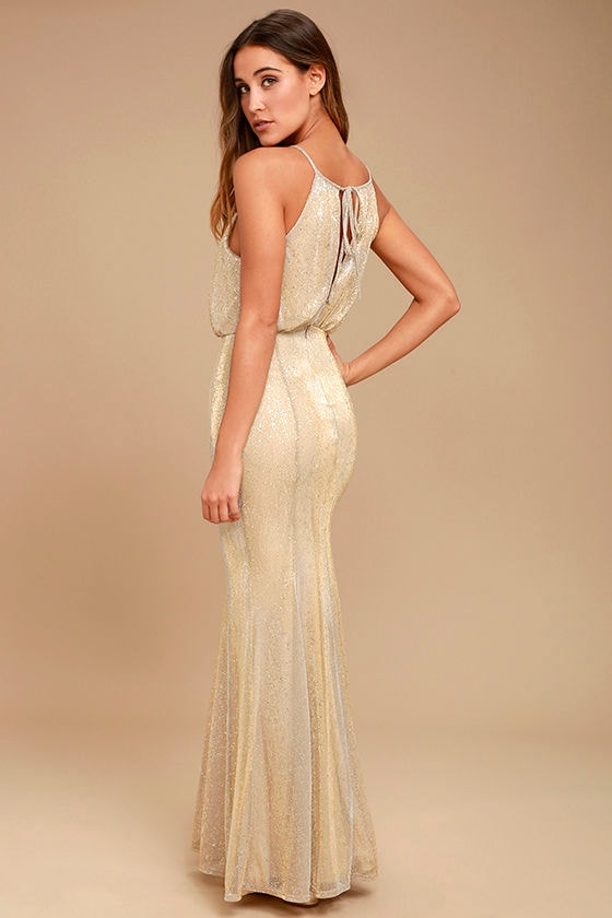Lovely Gold Dress - Maxi Dress - Halter Dress - $92.00