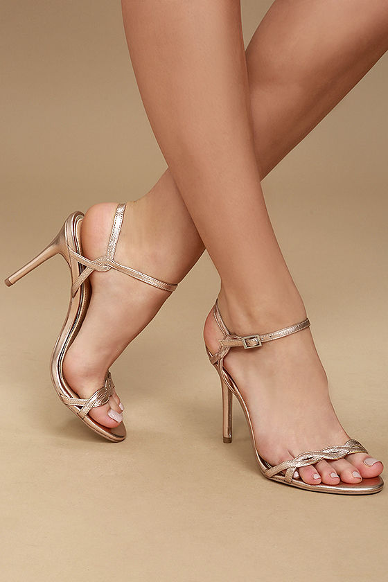 Jewel by Badgley Mischka Hepburn II Rose Gold Leather Heels 2