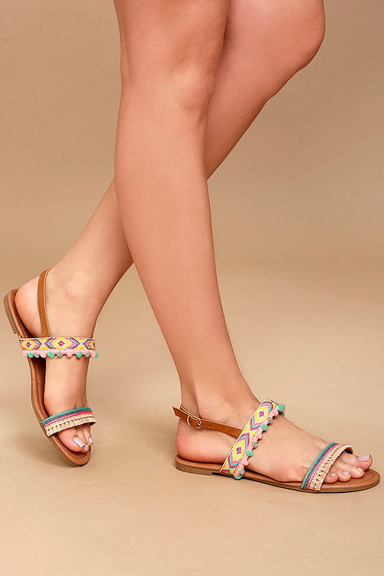 079c5db1cca Cute Nude Sandals - Embroidered Sandals - Pompom Sandals - Vegan ...