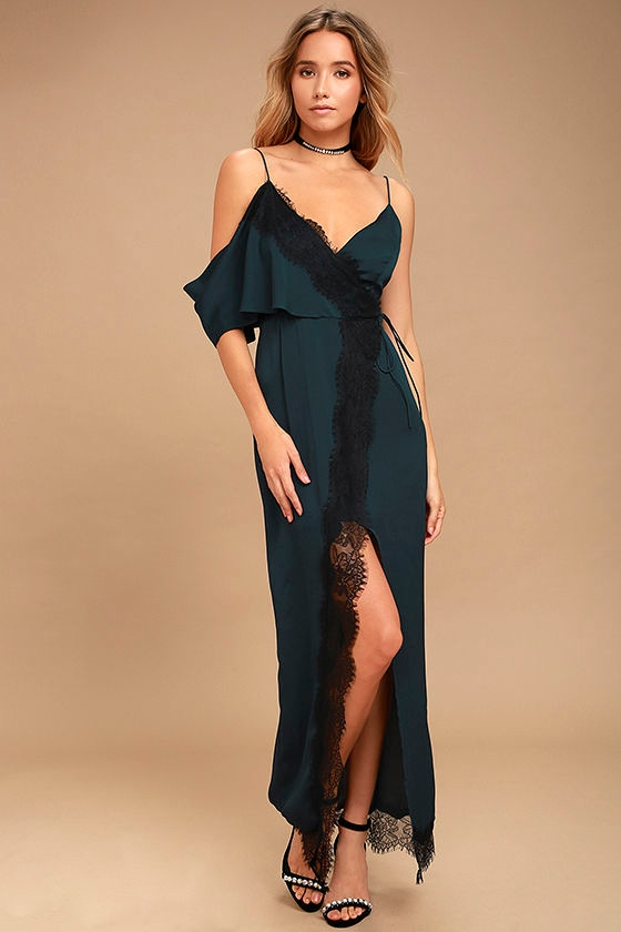 Keepsake Stop Me Navy Blue Lace One Shoulder Maxi Dress 1