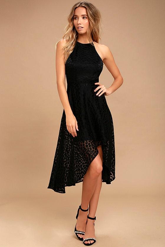 Keepsake Lovers Black Leopard Print High-Low Dress 1