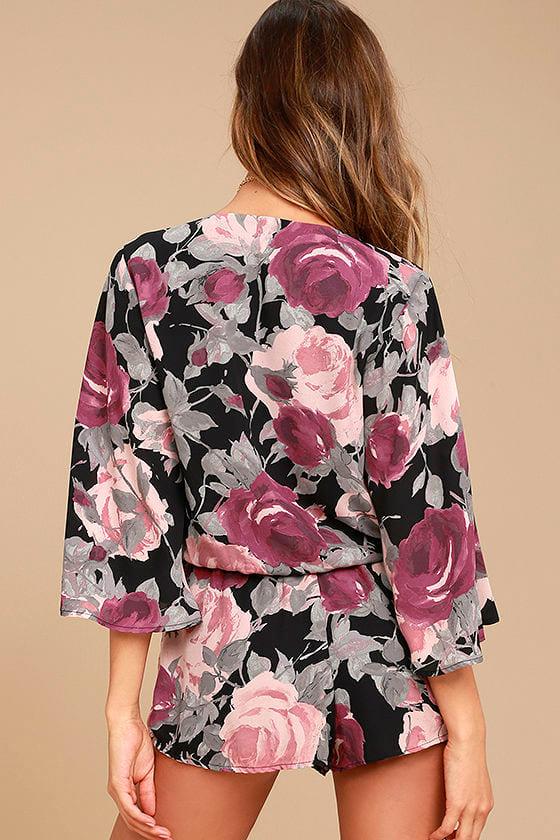 What's Bloomin' Black Floral Print Romper 3