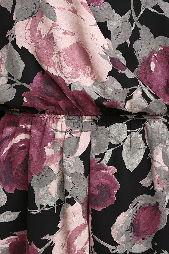 What's Bloomin' Black Floral Print Romper 4