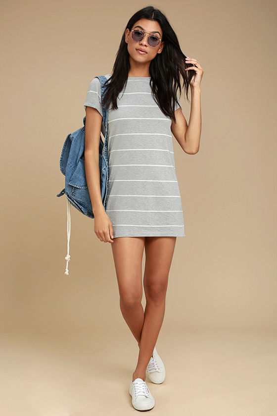 Billabong Down Time Grey Striped Shirt Dress 2
