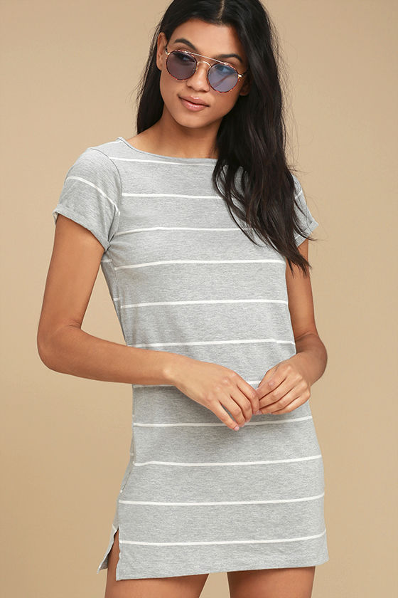 Billabong Down Time Grey Striped Shirt Dress 3