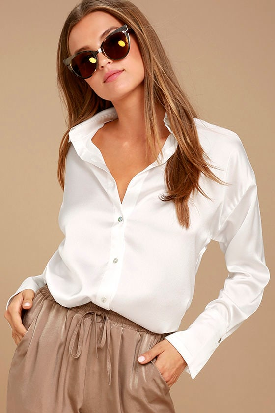 Sheen on Me White Satin Button-Up Top 3