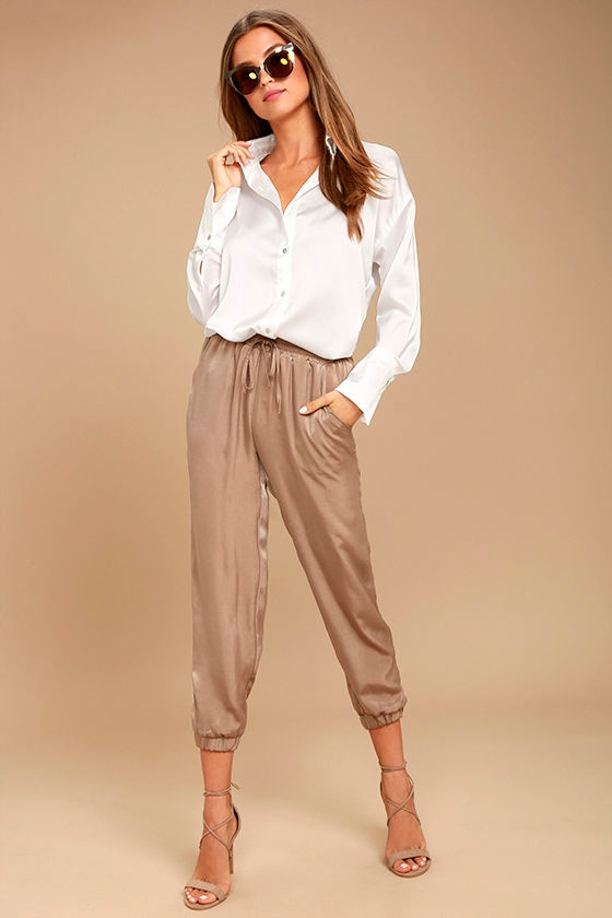 Sheen on Me White Satin Button-Up Top 2