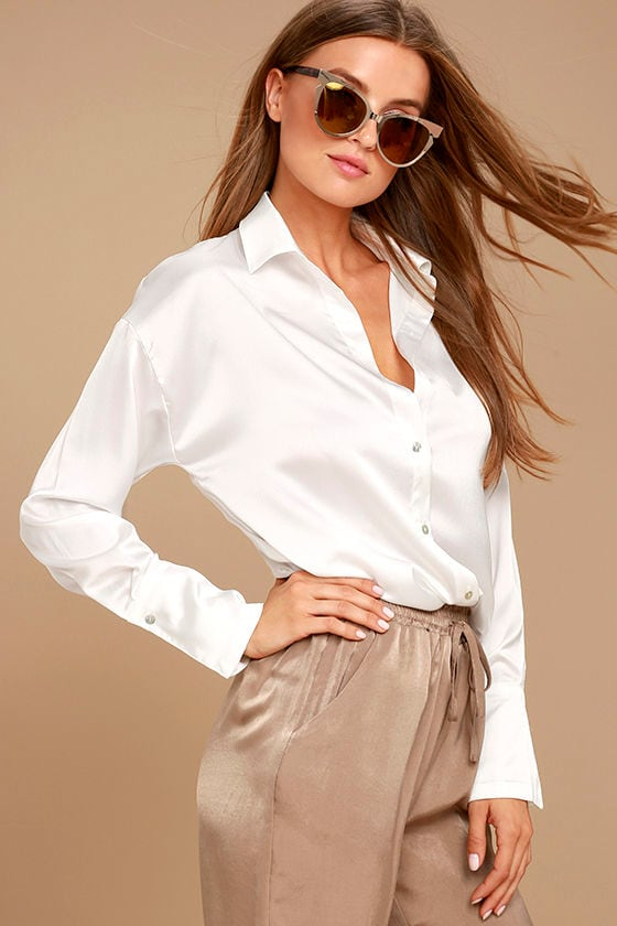 Sheen on Me White Satin Button-Up Top 1