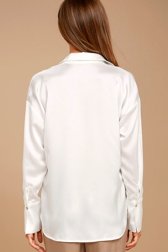 Sheen on Me White Satin Button-Up Top 4