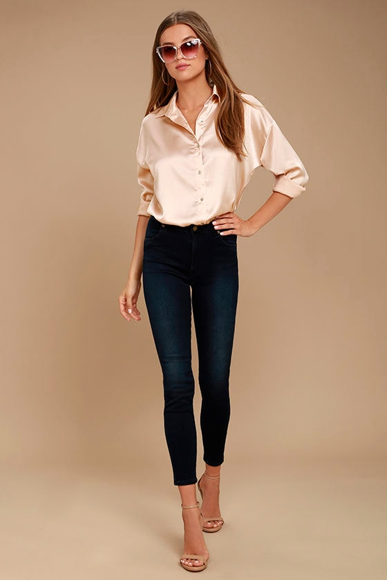 6452befc0c32b2 Chic Blush Top - Satin Top - Button-Up Top - Blouse -  36.00