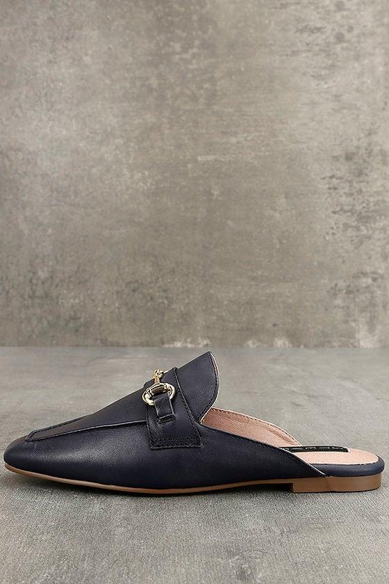 Steven by Steve Madden Razzi L Navy Leather Loafer Slides 2