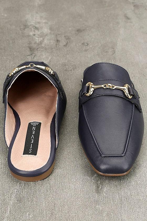 Steven by Steve Madden Razzi L Navy Leather Loafer Slides 3