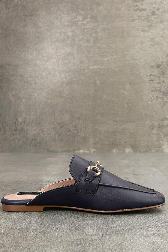 Steven by Steve Madden Razzi L Navy Leather Loafer Slides 4