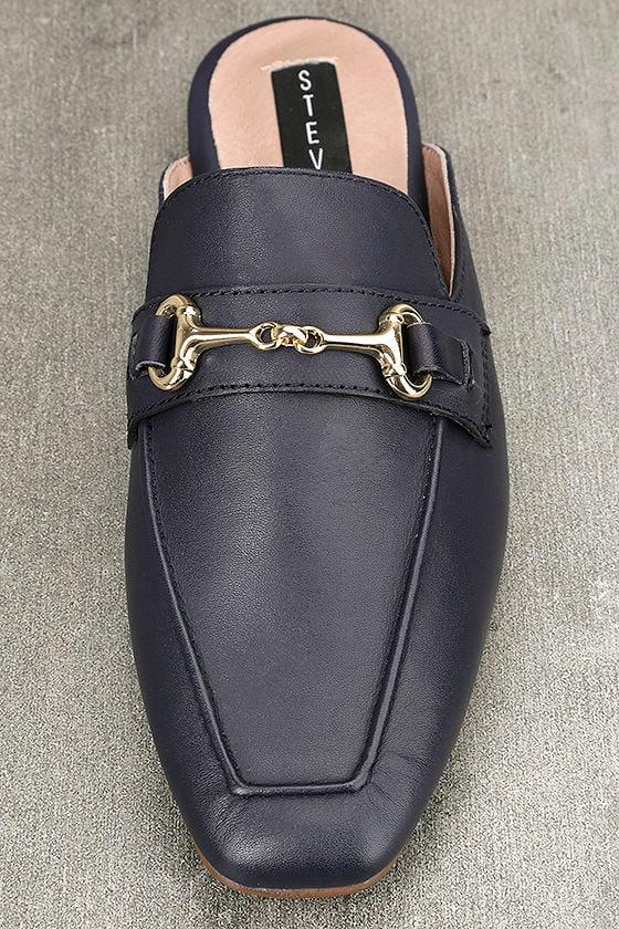 Steven by Steve Madden Razzi L Navy Leather Loafer Slides 5