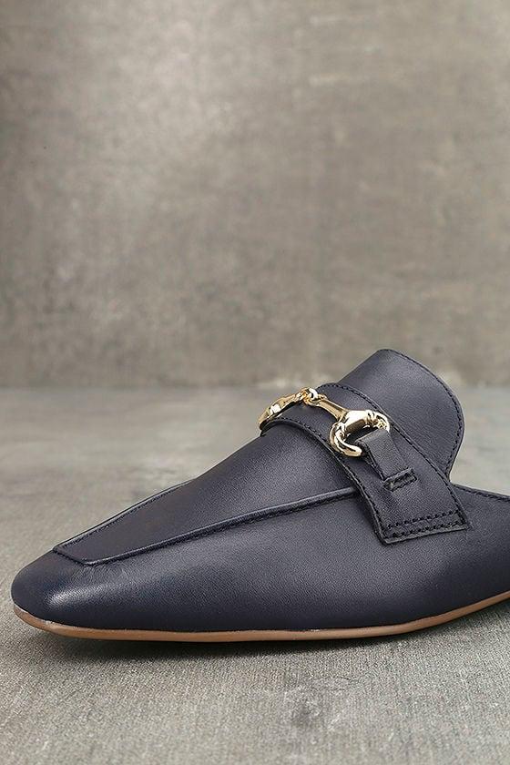 Steven by Steve Madden Razzi L Navy Leather Loafer Slides 6