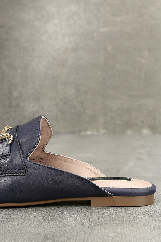 Steven by Steve Madden Razzi L Navy Leather Loafer Slides 7