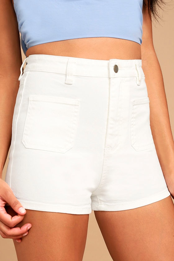 MINKPINK Escape Shorts - White High-Waisted Shorts - White Denim ...