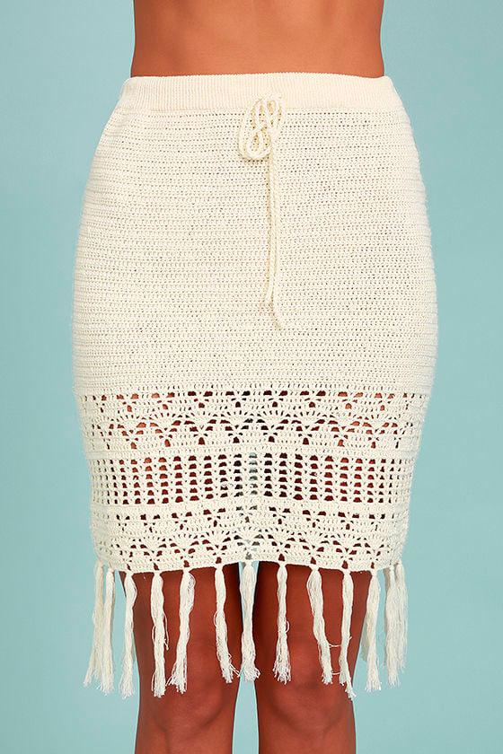 Mink Pink Henna Cream Crochet Pencil Skirt 4