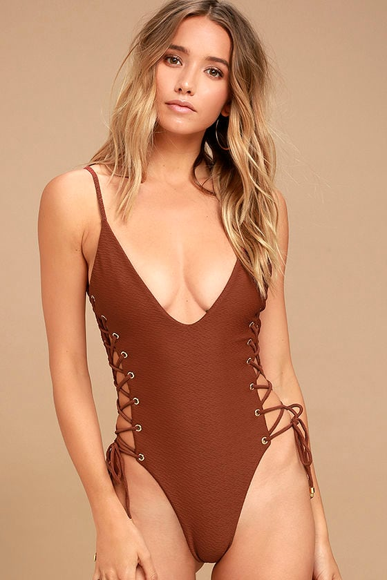 Blue Life Roped Up Rust Red Lace-Up One Piece Swimsuit 1