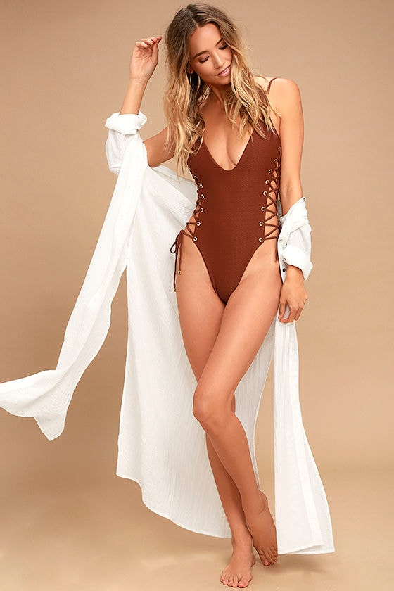51ab990779 Blue Life Roped Up - Rust Red Swimsuit - One Piece Swimsuit - Lace ...