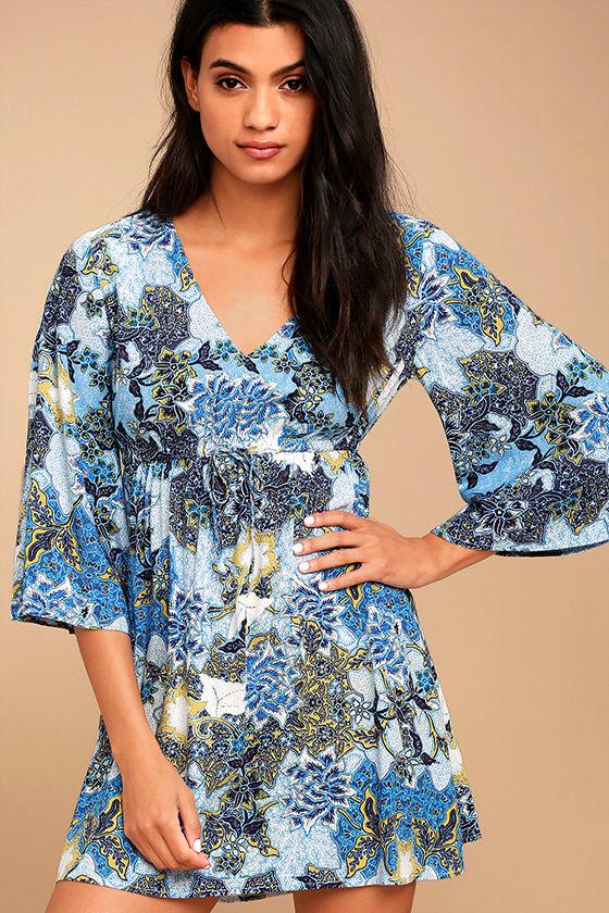 Jack by BB Dakota Faira Blue Floral Print Dress 1