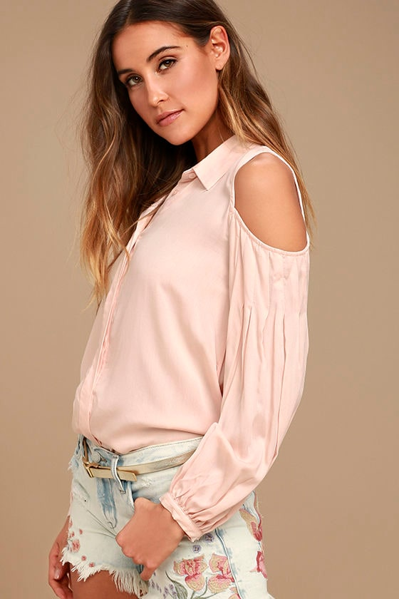 Love Somebody Peach Long Sleeve Button-Up Top 1