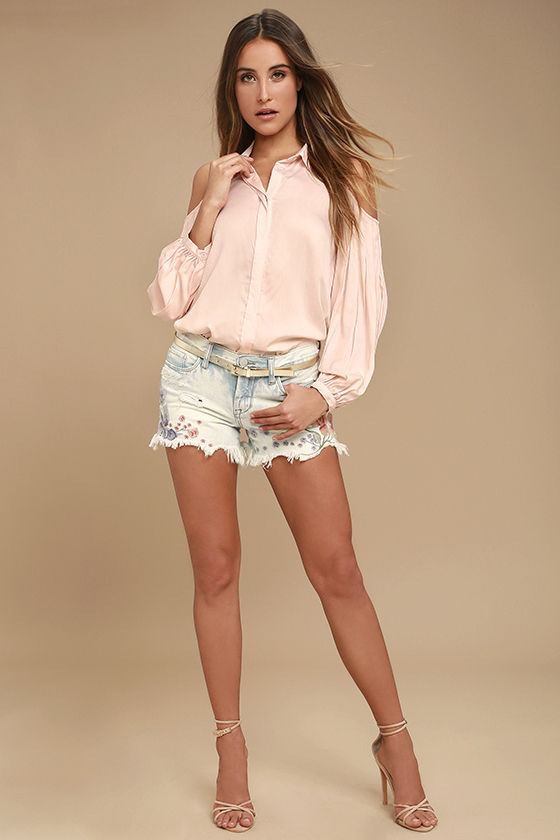 4398f8e4055fe8 Chic Peach Top - Cold Shoulder Top - Button-Up Top - Long Sleeve Top ...