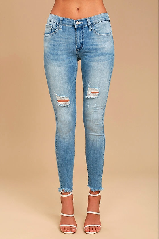 7fd7315ae77 Cool Light Wash Jeans - Distressed Jeans - Skinny Jeans -  64.00