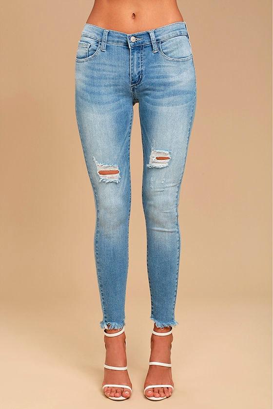 Feeling It Light Wash Distressed Skinny Jeans 2