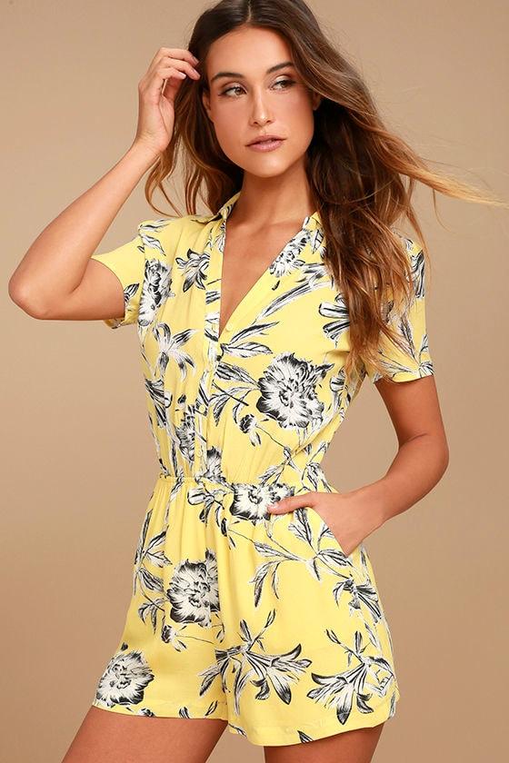7914ce9ee BB Dakota Morgana - Yellow Floral Print Romper - Button-Up Romper - $79.00