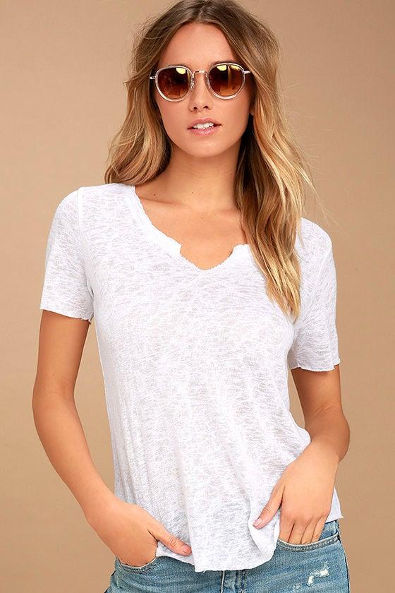 f0d3cf3c295 Project Social T Suzie Shirttail - White Tee - Raw Hem Tee - High-Low Tee -  $40.00