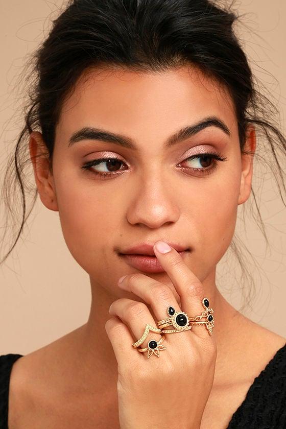Beautiful Gold Ring Set Gold and Black Ring Set Boho Ring Set