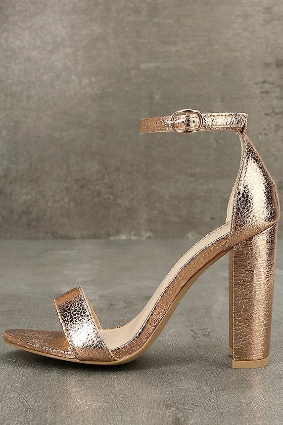 3ccbdded52f Chic Rose Gold Heels - Metallic Heels - Rose Gold Ankle Strap Heels - Rose  Gold Sandals -  49.00