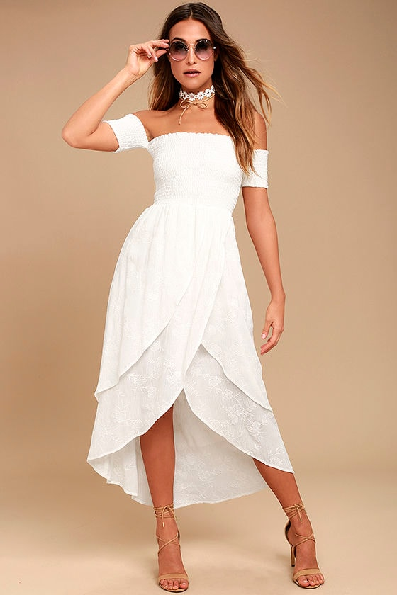 Lucy Love Barefoot Bride White Embroidered Midi Dress 1