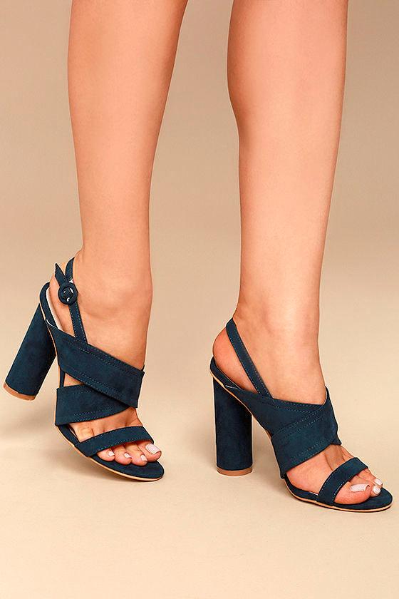 68ac0eb4fd4 Sexy Navy Heels - Vegan Suede Heels - Peep-Toe Heels -  39.00