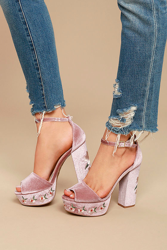Abella Blush Velvet Embroidered Platform Heels 2