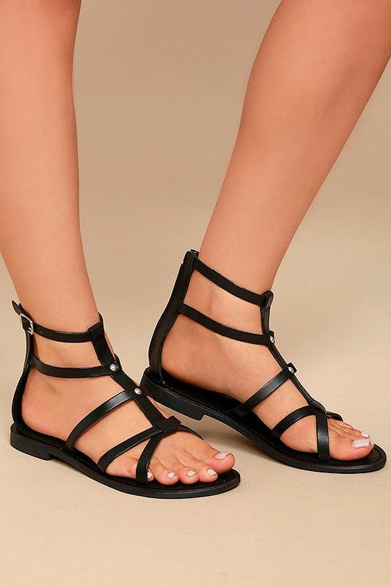 4f86c89a000 Rebels Florence Gladiator Sandals - Black Leather Sandals - Gladiator  Sandals -  79.00