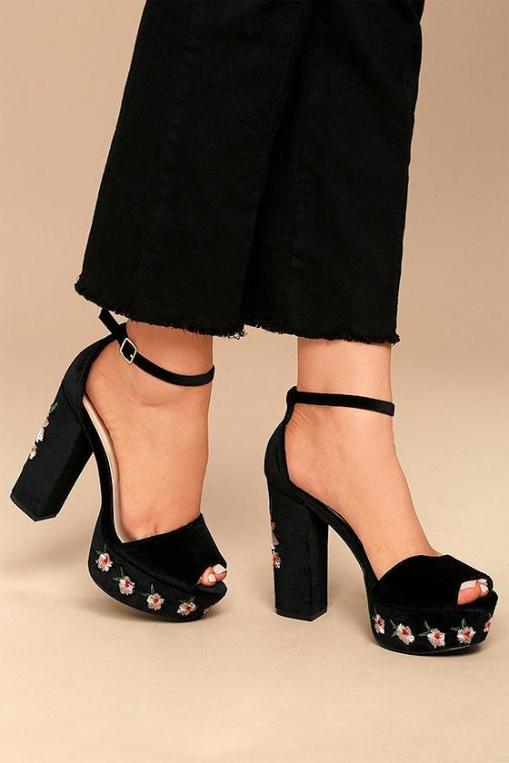 Abella Black Velvet Embroidered Platform Heels 2
