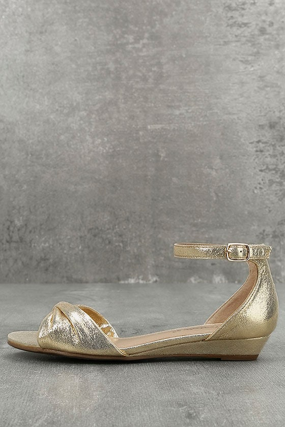 Maryanna Champagne Wedge Sandals 1