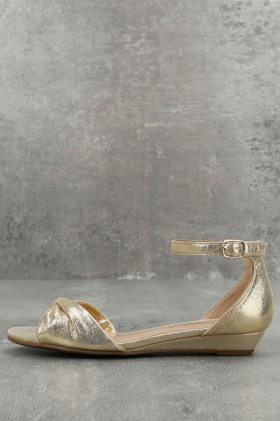 Maryanna Champagne Wedge Sandals 1