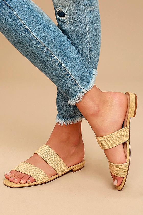 Steven by Steve Madden Friendsy Natural Multi Slide Sandals 1