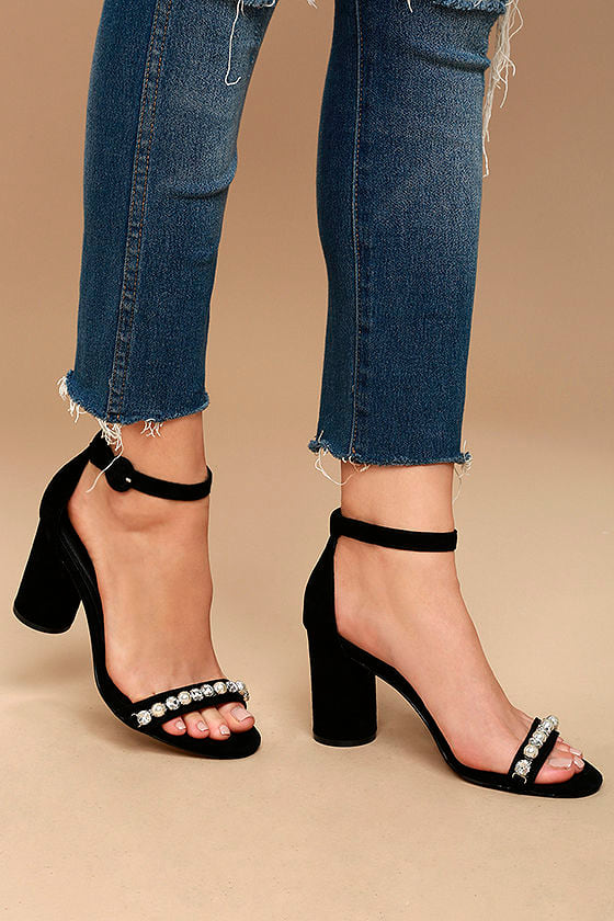 Suede Leather Ankle Strap Heels
