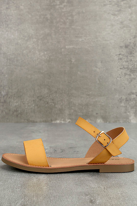 3331a69ce0d Cute Mustard Sandals - Vegan Leather Sandals - Flat Sandals -  21.00