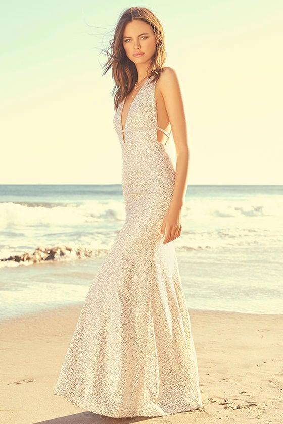 Wish Granted Beige Sequin Maxi Dress 2