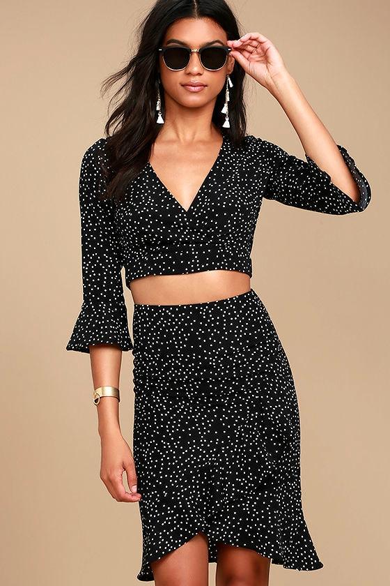 5cf20a54c243 Cute Black and White Skirt - Polka Dot Skirt - Pencil Skirt - Ruffled Skirt  - $36.00