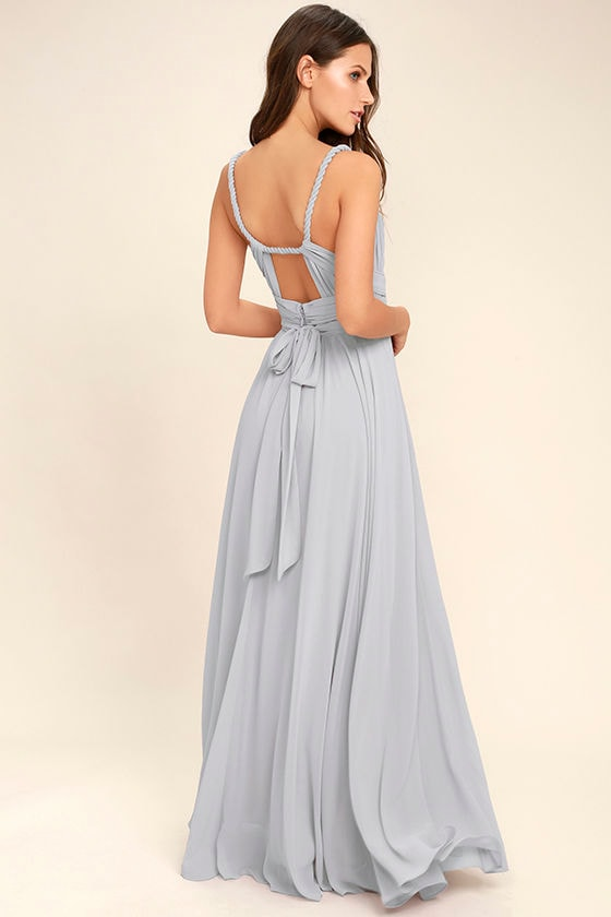 Lovely light grey dress maxi dress gown bridesmaid for Light grey wedding dress