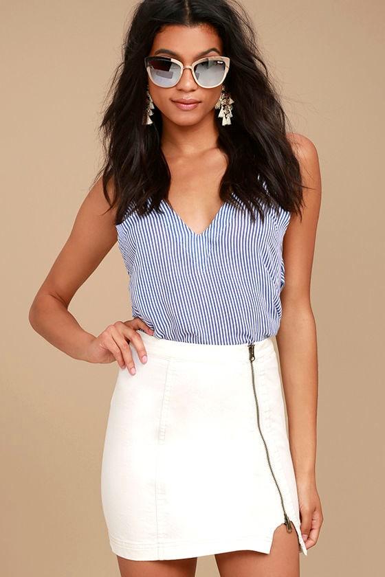 43e4fa2bcc67 Free People This Way or That - White Skirt - Denim Mini Skirt - Zipper  Denim Skirt -  50.00