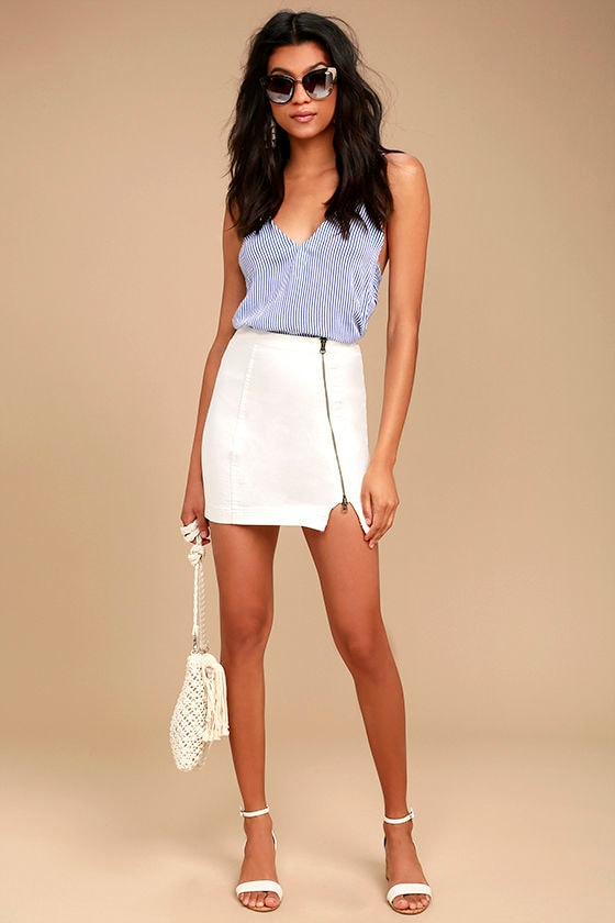 7b8a5298efd5 Free People This Way or That - White Skirt - Denim Mini Skirt ...